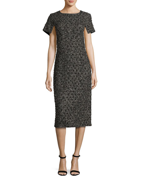 Michael Kors Short-Sleeve Tweed Boucle Dress