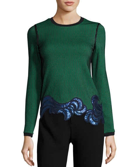 3.1 Phillip Lim Long-Sleeve Embellished Ribbed Striped Top,