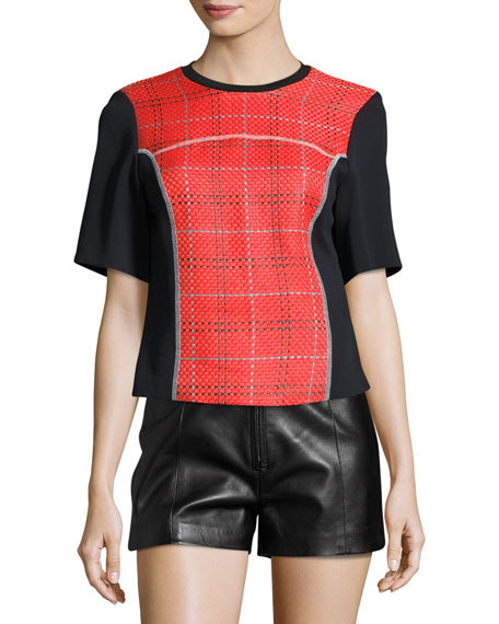 3.1 Phillip Lim Short-Sleeve Boxy Surf Plaid Top,