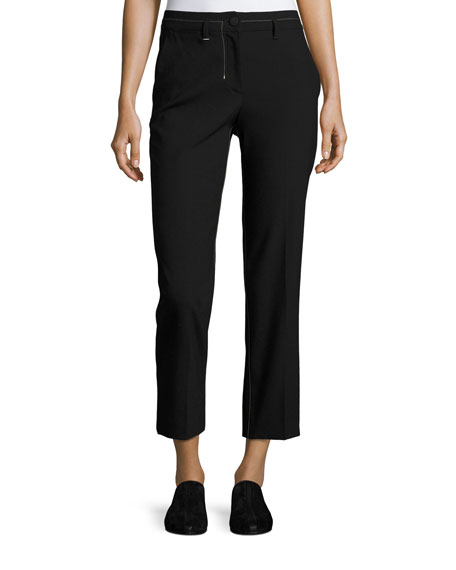 Stretch Gabardine Cropped Pants, Black