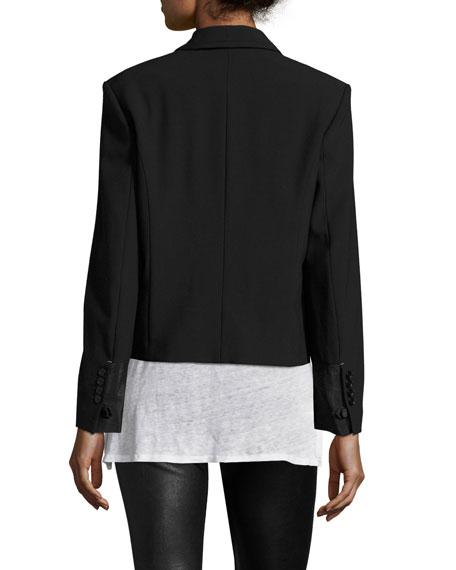 Stretch Gabardine Wrap Jacket, Black
