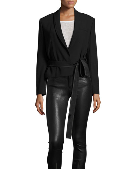 Helmut Lang Stretch Gabardine Wrap Jacket, Black