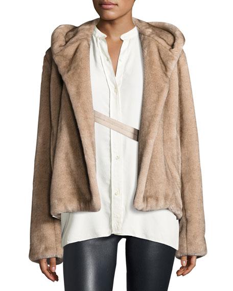 Hooded Faux-Mink Jacket, Ecru