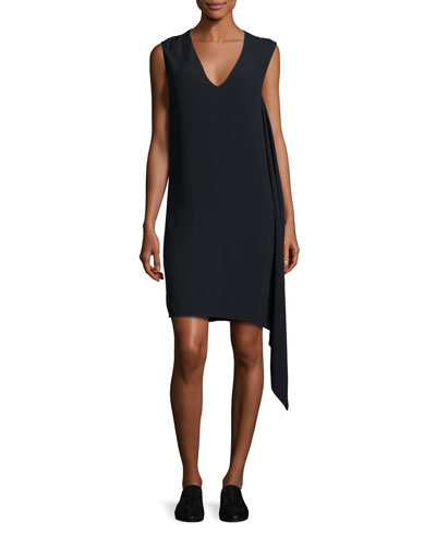 Sleeveless Draped Crepe Shift Dress, Navy