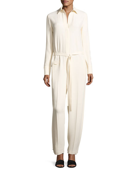 Long-Sleeve Collared Stretch Crepe Jumpsuit, Porcelain