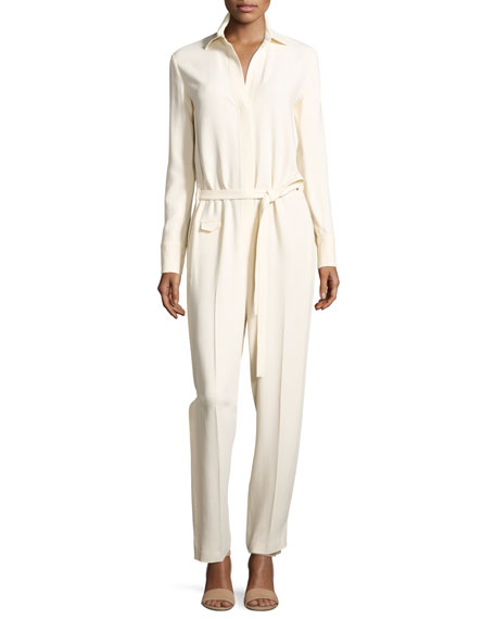 Helmut Lang Long-Sleeve Collared Stretch Crepe Jumpsuit,