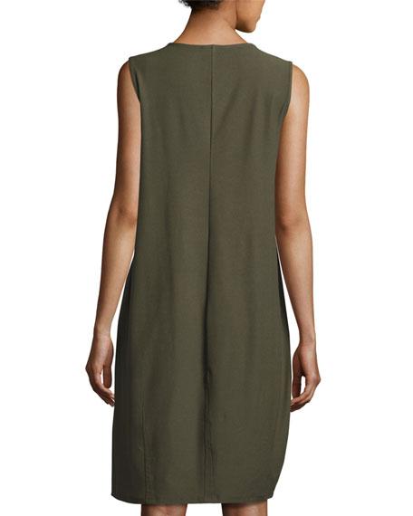 Washable Crepe Sleeveless Lantern Dress
