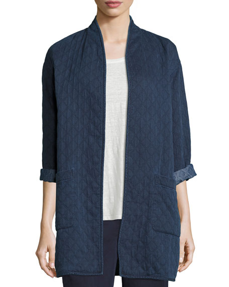 Eileen Fisher Jacquard Denim Long Jacket, Indigo, Petite