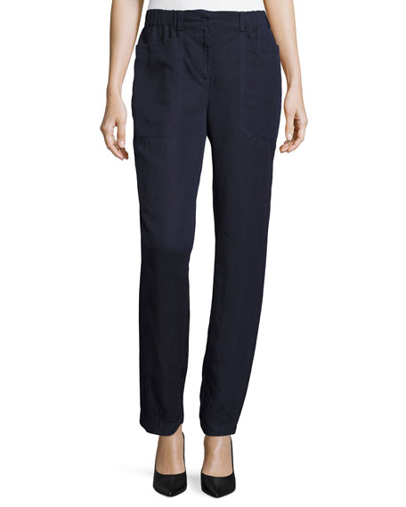 Eileen Fisher Classic Straight-Leg Ankle Pants, Midnight, Plus