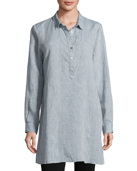 Eileen Fisher Long-Sleeve Henley Tunic, Chambray