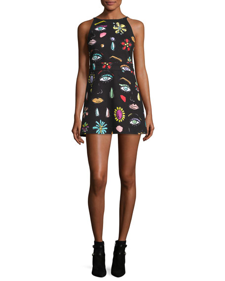 Boutique Moschino Sleeveless Fantasy-Print Babydoll Dress, Black