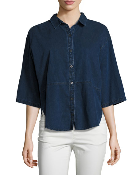 Eileen Fisher Denim Half-Sleeve Shirt | Neiman Marcus