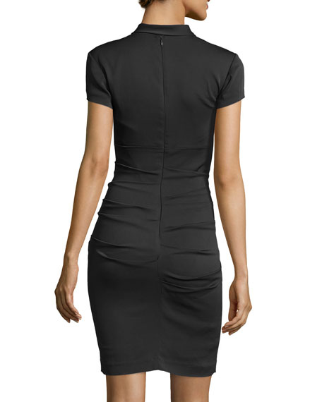 Short-Sleeve Bow-Detail Sheath Dress