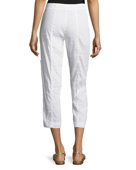 Drawstring Cropped Cargo Pants, White