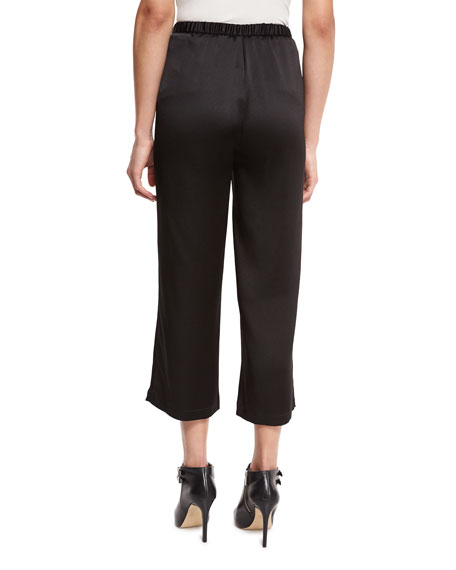 Crepe-Back Satin Straight-Leg Cropped Pants, Black