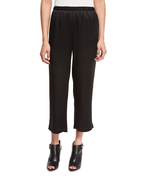 Crepe-Back Satin Straight-Leg Cropped Pants, Black