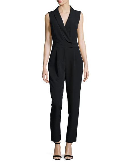 Milly Sleeveless Tuxedo-Collar Jumpsuit, Black