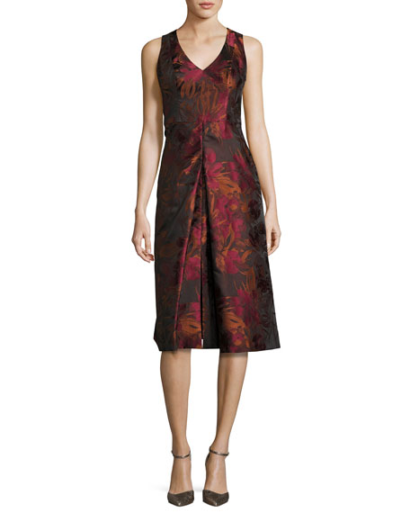 Black Halo Sleeveless Floral Jacquard Cocktail Dress, Red