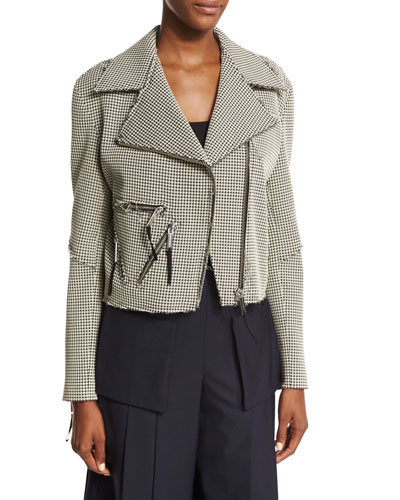 Rodney Textured Gingham Moto Jacket, Black/Beige