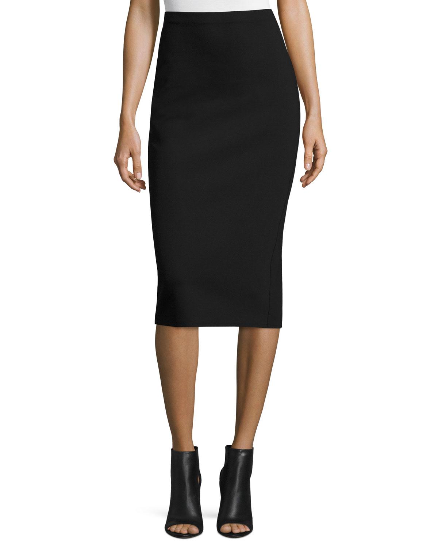 6081631cd7 THE ROW Rabina Scuba Pencil Midi Skirt, Black | Neiman Marcus