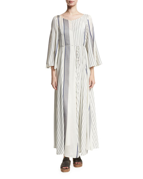 THE ROW Selar Striped Long-Sleeve Maxi Dress, White