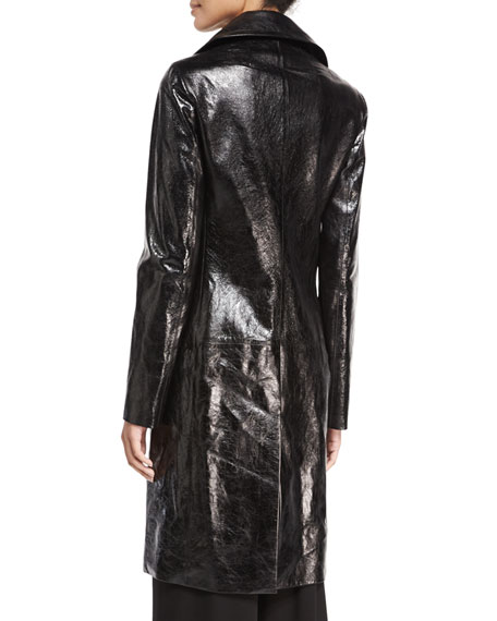 Roza Lambskin Long Coat, Black
