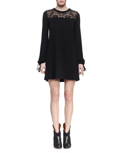 Long-Sleeve Lace-Inset Shift Dress, Black