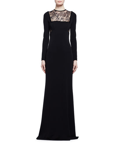 Long-Sleeve Butterfly Lace-Inset Gown, Black
