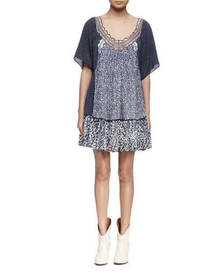 Chloe Half-Sleeve Mixed-Print A-Line Dress, Navy/White