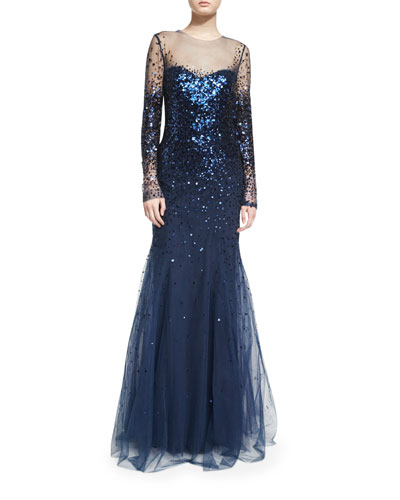 Long-Sleeve Degrade Sequin Illusion Gown, Navy
