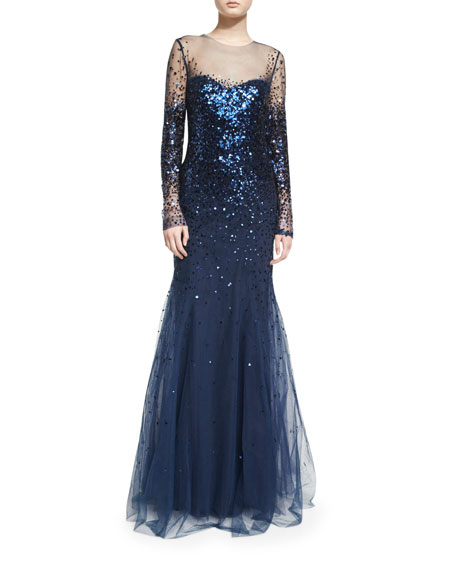 Monique Lhuillier Long-Sleeve Degrade Sequin Illusion Gown, Navy