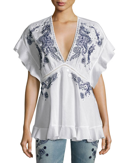embroidered shoulder shirt - White Roberto Cavalli Factory Outlet Cheap Price Free Shipping Genuine Cheap Shopping Online Discount For Cheap Pick A Best Cheap Price 8titNf