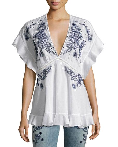 Roberto Cavalli Embroidered V-Neck Cotton Blouse, White