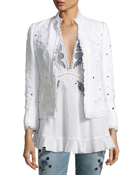 Roberto Cavalli Floral Frayed Linen Jacket, White