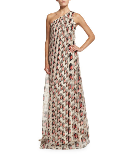One-Shoulder Draped Gown, Pink/Sand Multi