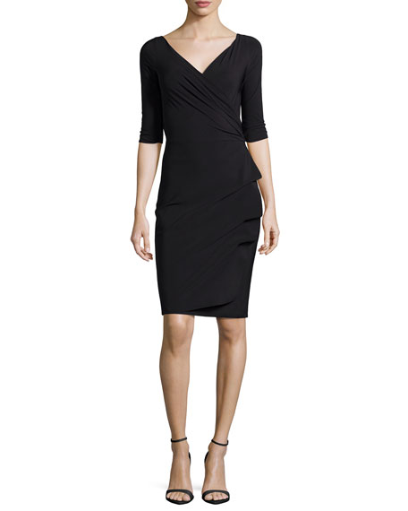 Florien 3/4-Sleeve Jersey Faux-Wrap Dress