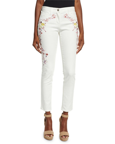 Floral-Embroidered Ankle Jeans, White