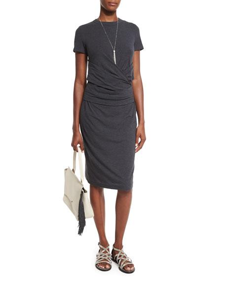 Crossover-Waist Short-Sleeve Jersey Dress