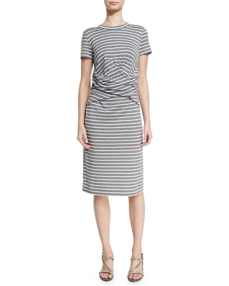 Brunello Cucinelli Short-Sleeve Striped Crossover-Waist Dress, Multi