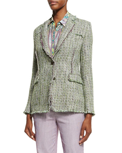Tweed Two-Button Jacket, Green/Lilac