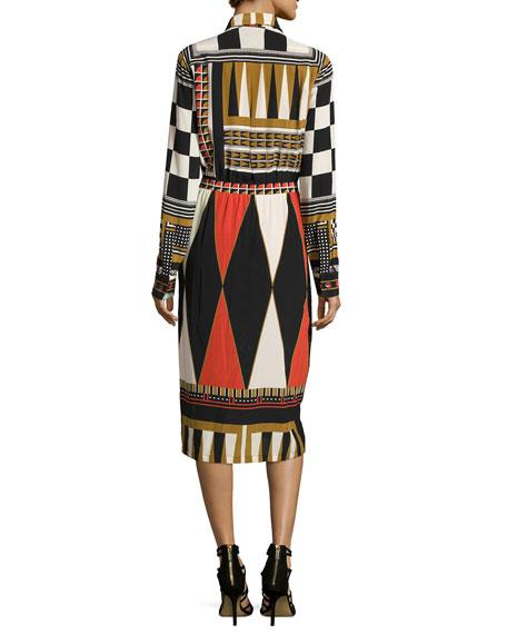 Backgammon-Print Long-Sleeve Shirtdress, Black