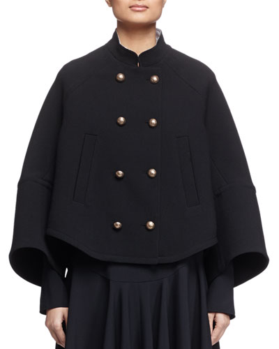 Mandarin-Collar Double-Breasted Topper Coat, Black