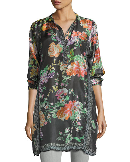Johnny Was Camilla Long Floral-Print Silk Tunic, Petite