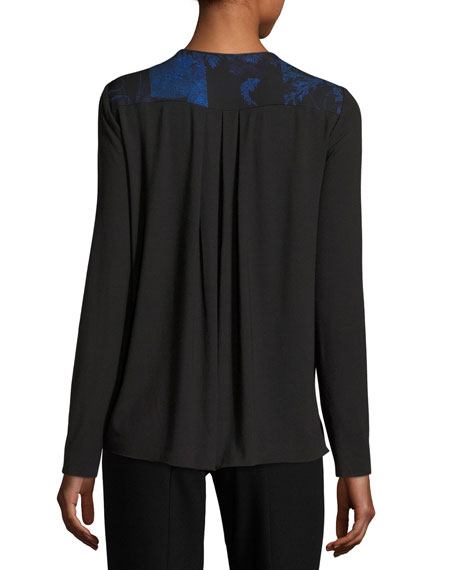 Northstar Holly Long-Sleeve Printed Silk Blouse, Bluette