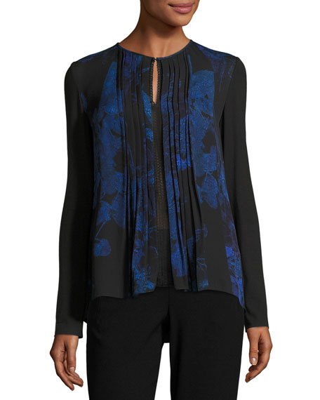 Elie Tahari Northstar Holly Long-Sleeve Printed Silk Blouse,