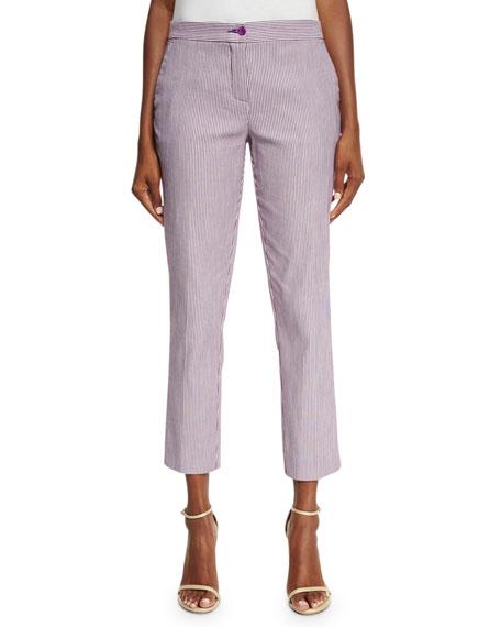 Etro Striped Straight-Leg Capri Pants, Lilac/White