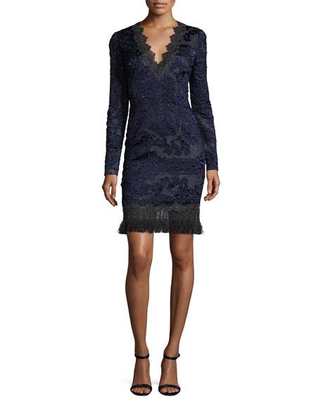 Camden Long Sleeve Lace Dress W Fringe Hem Navy