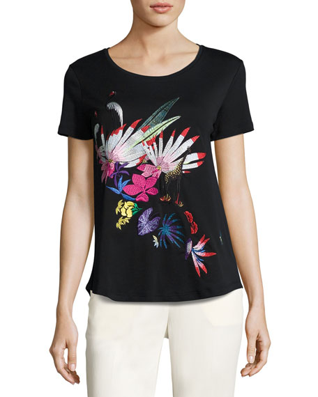 Etro Floral-Embroidered Scoop-Neck Tee, Black