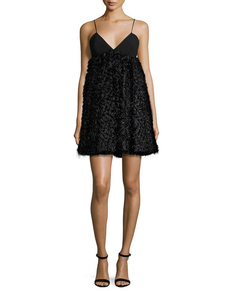 Milly Katie Sleeveless Mixed-Media Mini Dress, Black