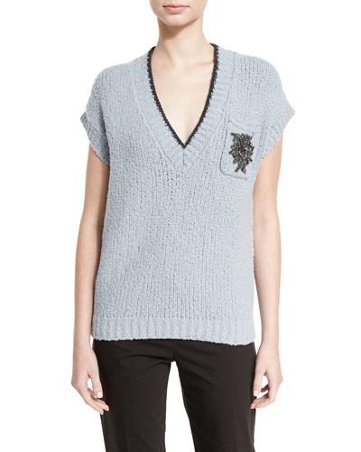 Cap-Sleeve V-Neck Pullover Sweater, Light Blue